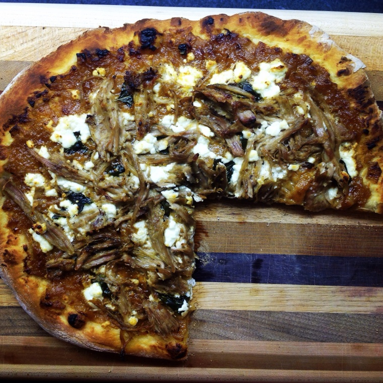 The result of an evening spent cooking with Randy-- pulled pork and goat cheese pizza.