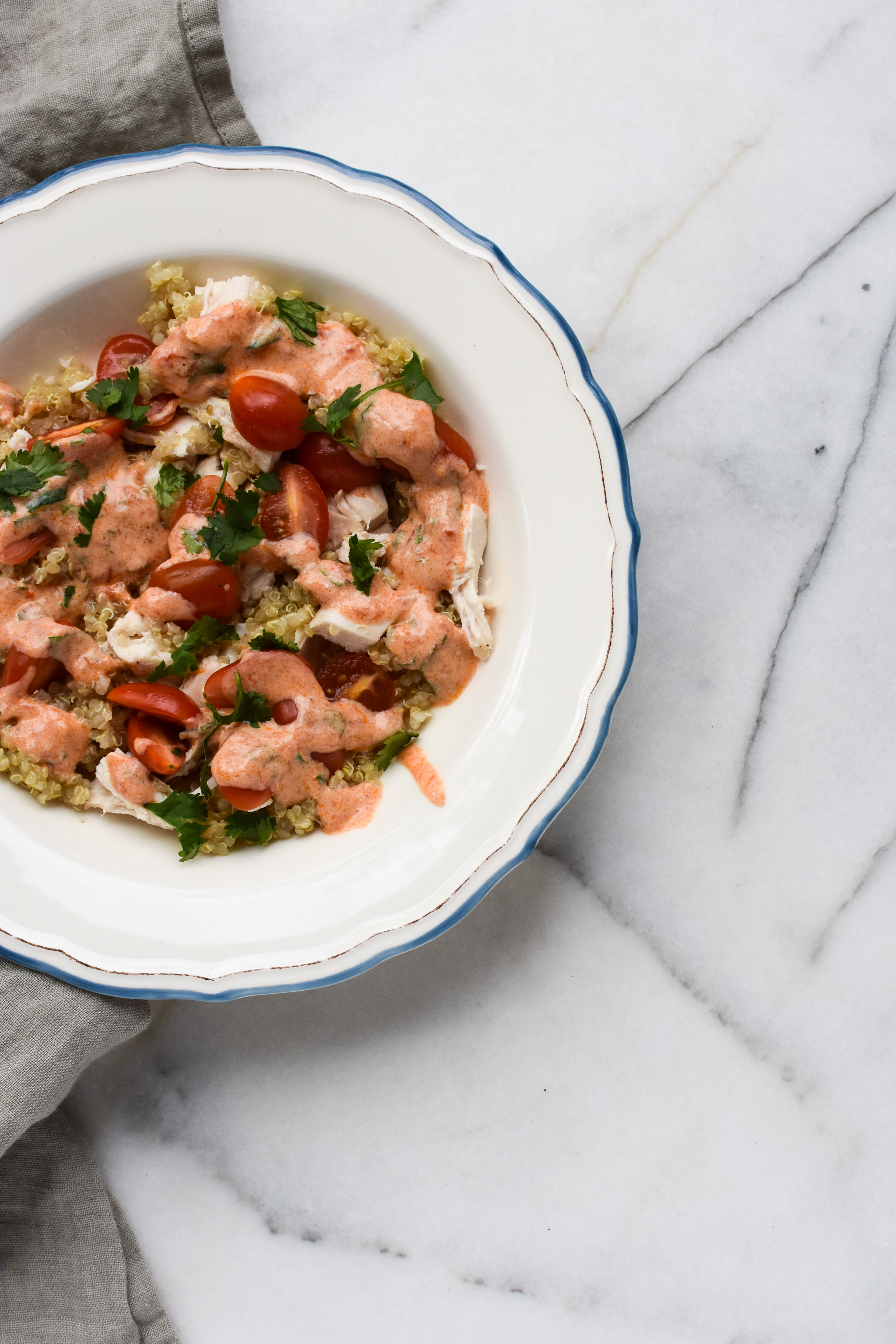 Roasted Chicken Quinoa Salad with Spicy Harissa Yogurt | a pleasant ...