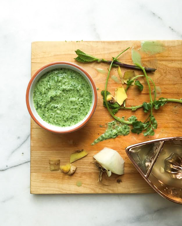 mint chutney cutting board post