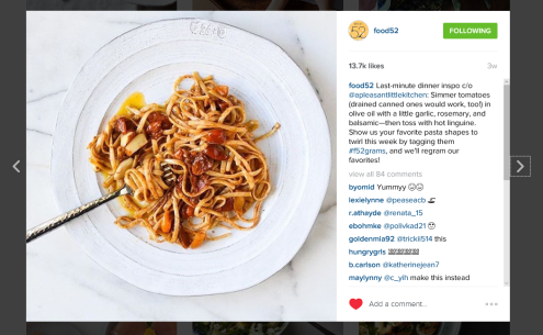 food52 regram pasta