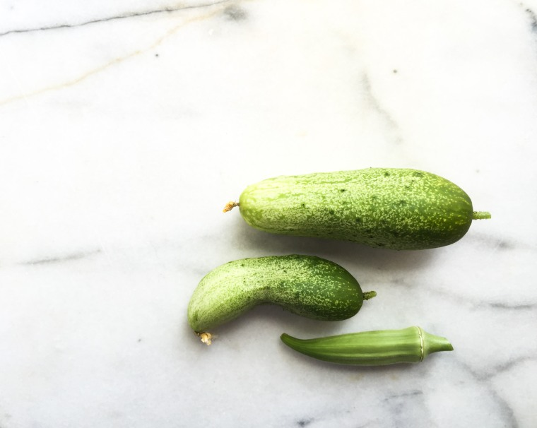 okra and cucumber