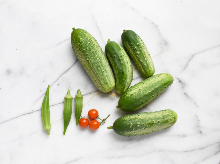 cucumbers tomato okra