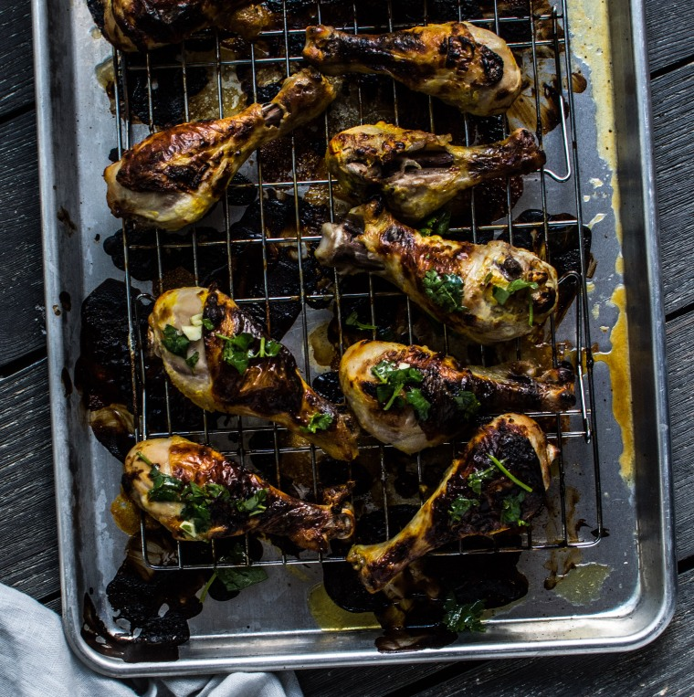 Roasted Saffron Yogurt Chicken Drumsticks With Cilantro
